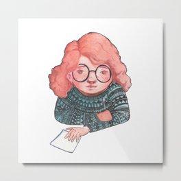Painting girl in orund glasses Metal Print