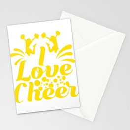 """Cheerleading Tee Perfect Gift For Cheerleaders Saying """"I Love Cheer!"""" T-shirt Design Coach Cheers Stationery Cards"""