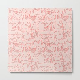 Line hand-drawn dachshund vintage illustration pattern. Cute abstract dog texture design. Cute pink animal repeat background. Metal Print