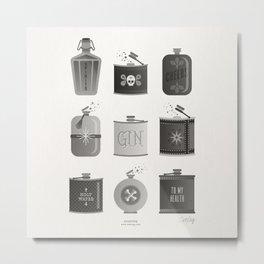 Flask Collection – Black Palette Metal Print