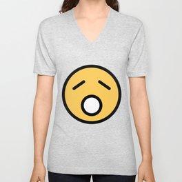 Smiley Face   Sad Sleepy Looking Unisex V-Neck