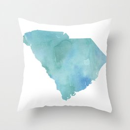 Watercolor State Map - South Carolina SC blue greens Throw Pillow