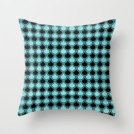 Mermaid Scales Blue Turquoise Teal on Black Throw Pillow