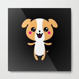 Kawaii Cute Dog Gift Idea Motif Design Metal Print