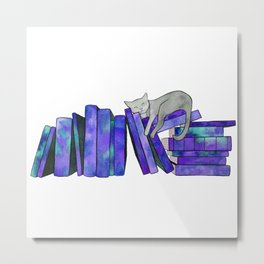 Literary Naps in Purple Metal Print