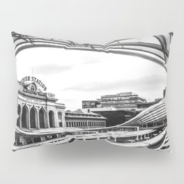 Union Station // Train Travel Downtown Denver Colorado Black and White City Photography Pillow Sham