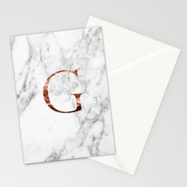 Monogram rose gold marble G Stationery Cards