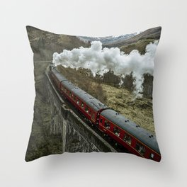 Red Wizard Steam Train In The Scottish Highlands – Landscape Photography Throw Pillow