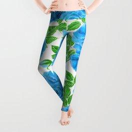Blue roses watercolor seamless pattern Leggings