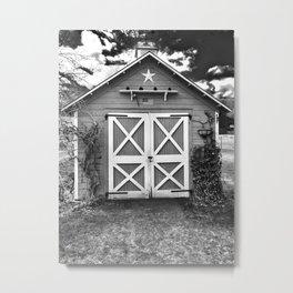 Farm Shed in Black & White Metal Print