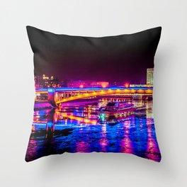 Fantastic, Breathtaking River Cruise At Winter Night Throw Pillow