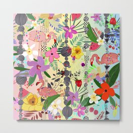 Tropical Flower, Flamingo and Exotic Flowers Pattern With Cherry, Strawberry rainbow background Metal Print