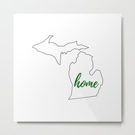 Michigan - Home - White Green Metal Print