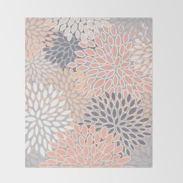 Flowers Abstract Print, Coral, Peach, Gray Throw Blanket