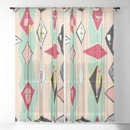 Mid Century Modern, Retro, Martini, Pink,Turquoise, Red Black Sheer Curtain