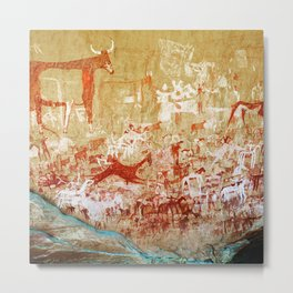 Ancient African Cave Art - The Herd Metal Print