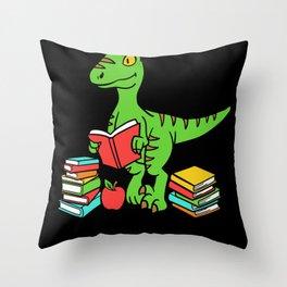 Velocireader Dinosaurs School School Books Motif Throw Pillow