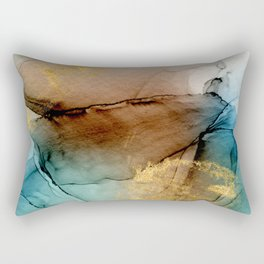 Daintree 1 - teal, gold and brown abstract alcohol ink  Rectangular Pillow