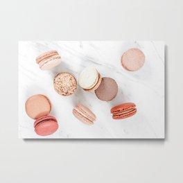 French Macarons Print, Sweet Macaroons Art, Minimalist Food Print, Paris Cuisine Decor, Pastel Cookies Print, French Patisserie Flat Lay Metal Print
