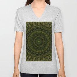 Mandala in olive green tones Unisex V-Neck