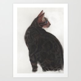 Dave the Bengal Cat, pastel, oil pastel, pencil, charcoal, by Candy Medusa, Black Dwarf Designs Art Print