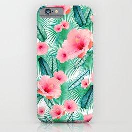 Hibiscus Calathea Fan Palm Leaves Jungle #2 #tropical #decor #art #society6 iPhone Case