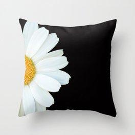 Hello Daisy - White Flower Black Background #decor #society6 #buyart Throw Pillow