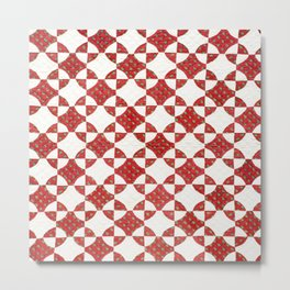 Red and White Quilt Block Metal Print