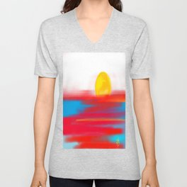 Sketchy Sun and Sea. Sunset and Sunrise Sketch Unisex V-Neck