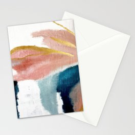 Exhale: a pretty, minimal, acrylic piece in pinks, blues, and gold Stationery Cards