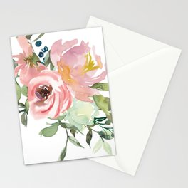 Pink Floral Watercolor Bouquet Stationery Cards