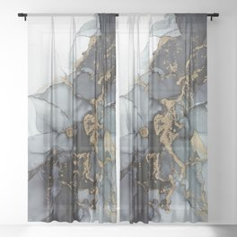 Stormy Black Gold Marble | Abstract Ink Sheer Curtain