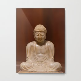 Statuette of Gautama Buddha in light marble in a prayer position Metal Print