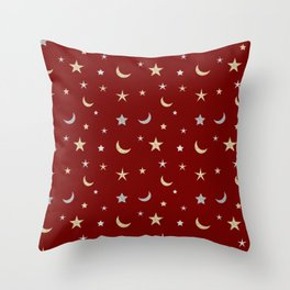 Gold and silver moon and star pattern on red background Throw Pillow