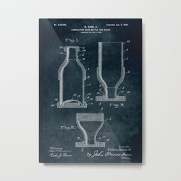 1897 - Combination beer bottle and glass patent art Metal Print