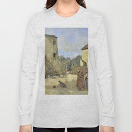 """Jean-Baptiste-Camille Corot """"Three peasant women chatting in a rustic courtyard"""" Long Sleeve T-shirt"""