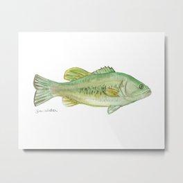 Largemouth Bass Watercolor Metal Print