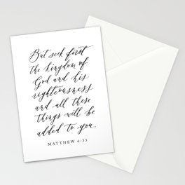 Matthew 6:33 But seek first the kingdom of God Stationery Cards