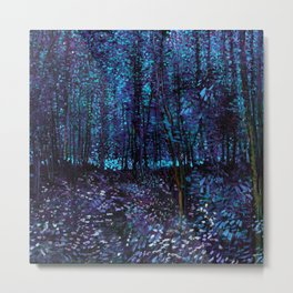 Van Gogh Trees & Underwood Indigo Turquoise Metal Print
