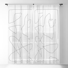 Abstract Figure One Line Art Sheer Curtain