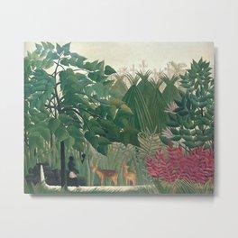 The Waterfall by Henri Rousseau 1910 // Jungle Waterfall Deer Indigenous People Flowers Plant Scene Metal Print