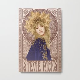 Stevie Nicks Poster Mucha Art Nouveau Metal Print