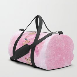 Winter Woodland Stranger- Cute Flamingo Bird Snowy Forest Illustration Duffle Bag