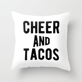 Cheer And Tacos Funny Cheerleader Graphic Throw Pillow
