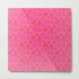 Doodle floral coordinate pink lace 14 Metal Print