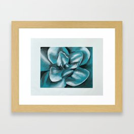 Blue Charcoal Flower Framed Art Print