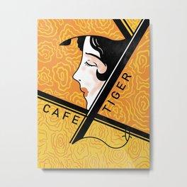 Cafe Tiger Vintage Japanese Matchbox Design Metal Print