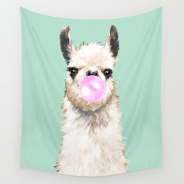 Bubble Gum Popped on Llama (1 in series of 3) Wall Tapestry