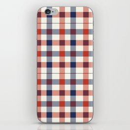 Plaid Red White And Blue Lumberjack Flannel iPhone Skin