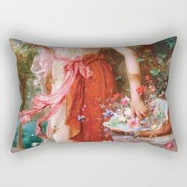 At The Flower Garden - Hans Zatzka Rectangular Pillow